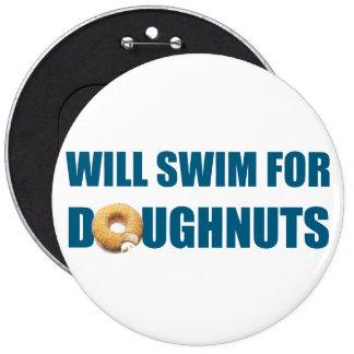 Swim team gift, funny, swimming doughnuts 6 inch round button