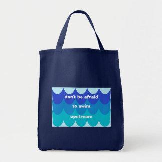 Swim Upstream Grocery Tote Bag