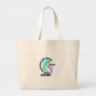 Swim With Dolphins Large Tote Bag