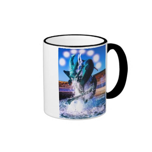 SWIM WITH DOLPHINS RINGER COFFEE MUG