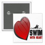 SWIM WITH HEART 2 INCH SQUARE BUTTON