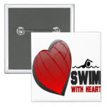 SWIM WITH HEART PINBACK BUTTON