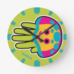 Hand shaped Swim with Immortal Jellyfish Round Clock