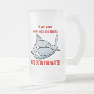 Swim with the Sharks 16 Oz Frosted Glass Beer Mug