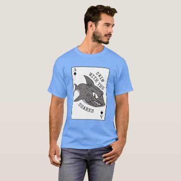 Beach Themed Swim with the Sharks Poker T-Shirt