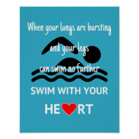 Swim with your heart motivational sport poster