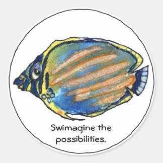 Swimagine el pegatina lindo de los pescados de las