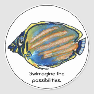 Swimagine the Possibilities Cute Fish Sticker
