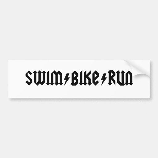 swimbikerun acdc letters car bumper sticker