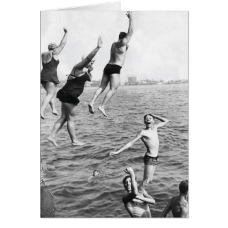 Swiming at the Pier Greeting Card - 1780264