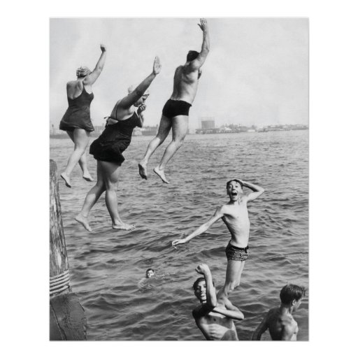 Swiming at the Pier Poster Print - 1780264