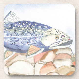Swiming Trout watercolor Drink Coasters