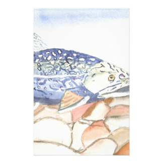 Swiming Trout watercolor Stationery Paper