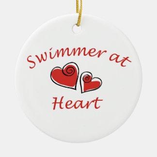 Swimmer at Heart Ceramic Ornament