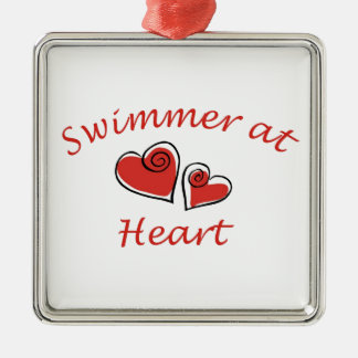 Swimmer at Heart Metal Ornament