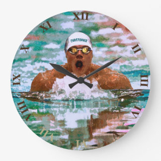 Swimmer Athlete In Pool With Water Drops Painting Large Clock