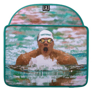Swimmer Athlete In Pool With Water Drops Painting Sleeve For MacBooks