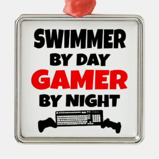 Swimmer by Day Gamer by Night Square Metal Christmas Ornament
