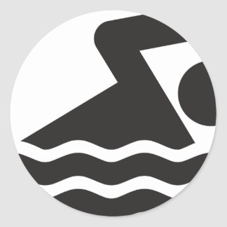Swimmer Classic Round Sticker