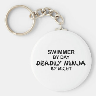 Swimmer Deadly Ninja by Night Basic Round Button Keychain