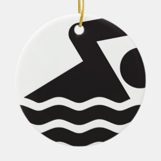 Swimmer Double-Sided Ceramic Round Christmas Ornament