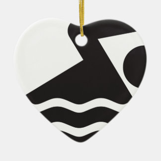 Swimmer Double-Sided Heart Ceramic Christmas Ornament