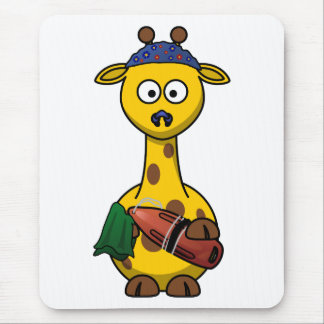 Swimmer Giraffe Cartoon Art Mouse Pad