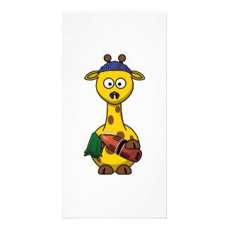 Swimmer Giraffe Cartoon Art Customized Photo Card