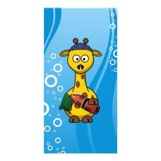 Swimmer Giraffe Cute Cartoon Photo Greeting Card