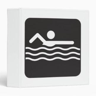 Swimmer Icon 3 Ring Binder