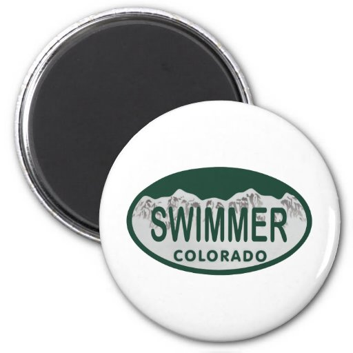 Swimmer license oval 2 inch round magnet