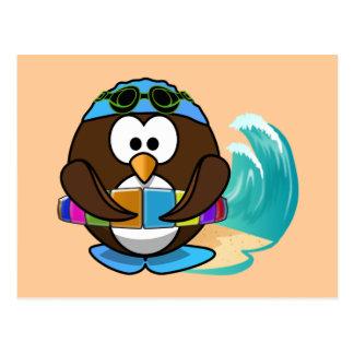 swimmer owl postcard