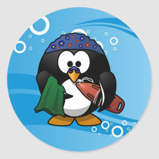 Swimmer Penguin Water Background Classic Round Sticker