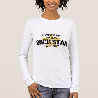 Swimmer Rock Star by Night Long Sleeve T-Shirt
