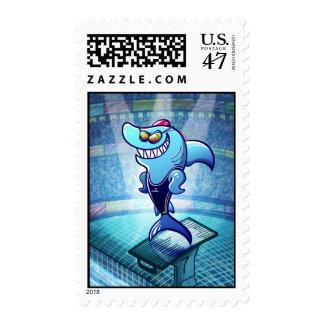 Swimmer Shark Postage