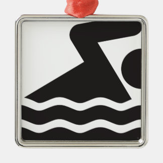 Swimmer Square Metal Christmas Ornament