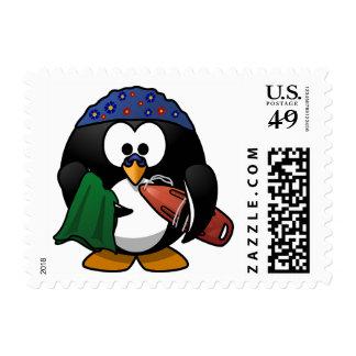 Swimmer Surfer Penguin Holiday Stamp