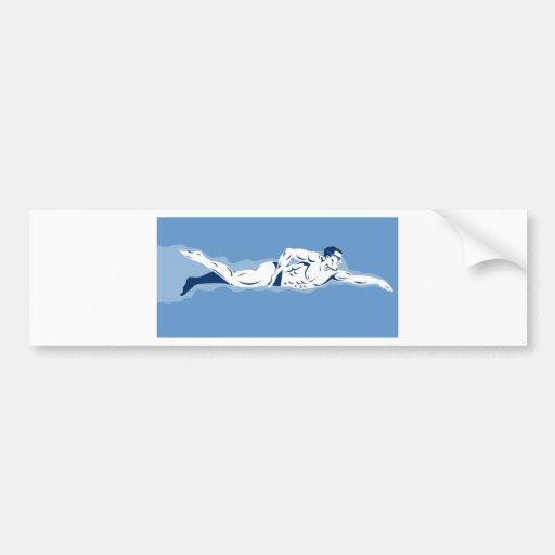 swimmer swimming freestyle front crawl bumper sticker