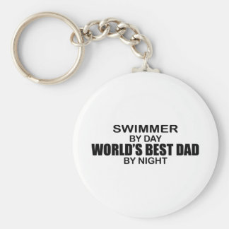 Swimmer - World's Best Dad by Night Keychain