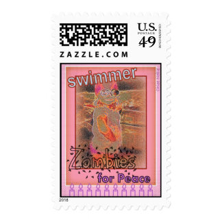 """""""Swimmer Zombies for Peace"""" Postage Stamps"""