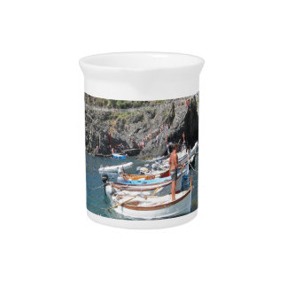 Swimmers at Cinque Terre Drink Pitcher