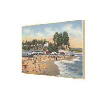 Swimmers & Sunbathers on the Beach Canvas Print