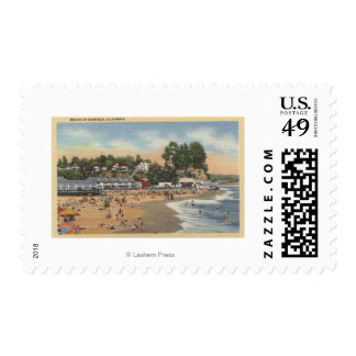Swimmers & Sunbathers on the Beach Postage