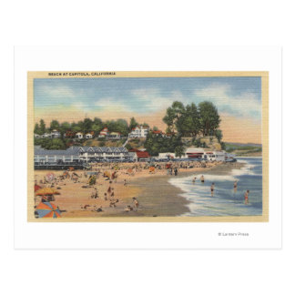 Swimmers & Sunbathers on the Beach Postcard