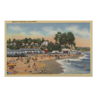 Swimmers & Sunbathers on the Beach Print