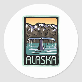 Swimmin' in Alaska Classic Round Sticker