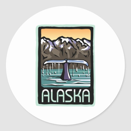 Swimmin' in Alaska Classic Round Sticker