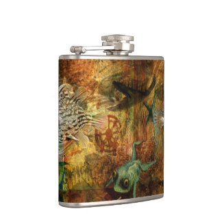 Swimming Against the Tide Hip Flask