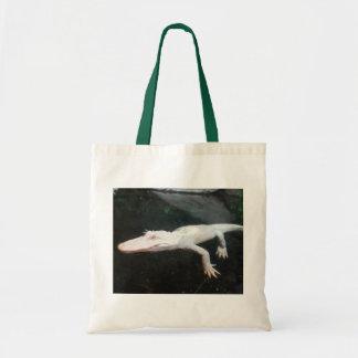 Swimming albino alligator color photograph tote bags