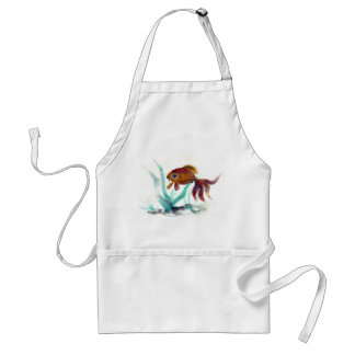 Swimming Along, Goldfish... Sumi-e in color Adult Apron